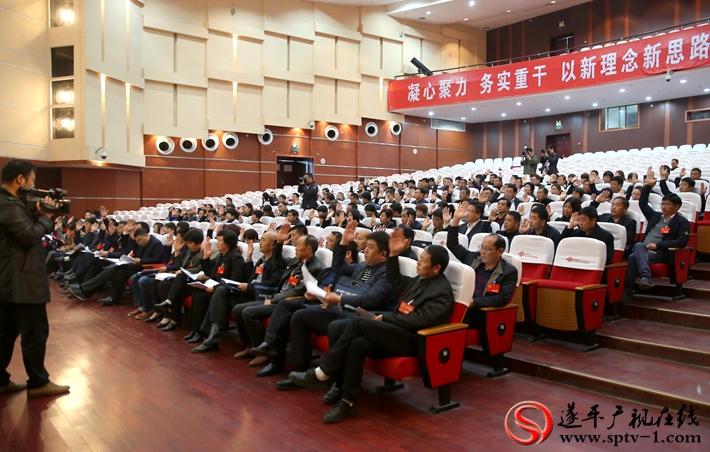 图为:遂平县第十五届人民代表大会第一次会议代表进行举手表决。 摄影 冠红 魏冬 建明