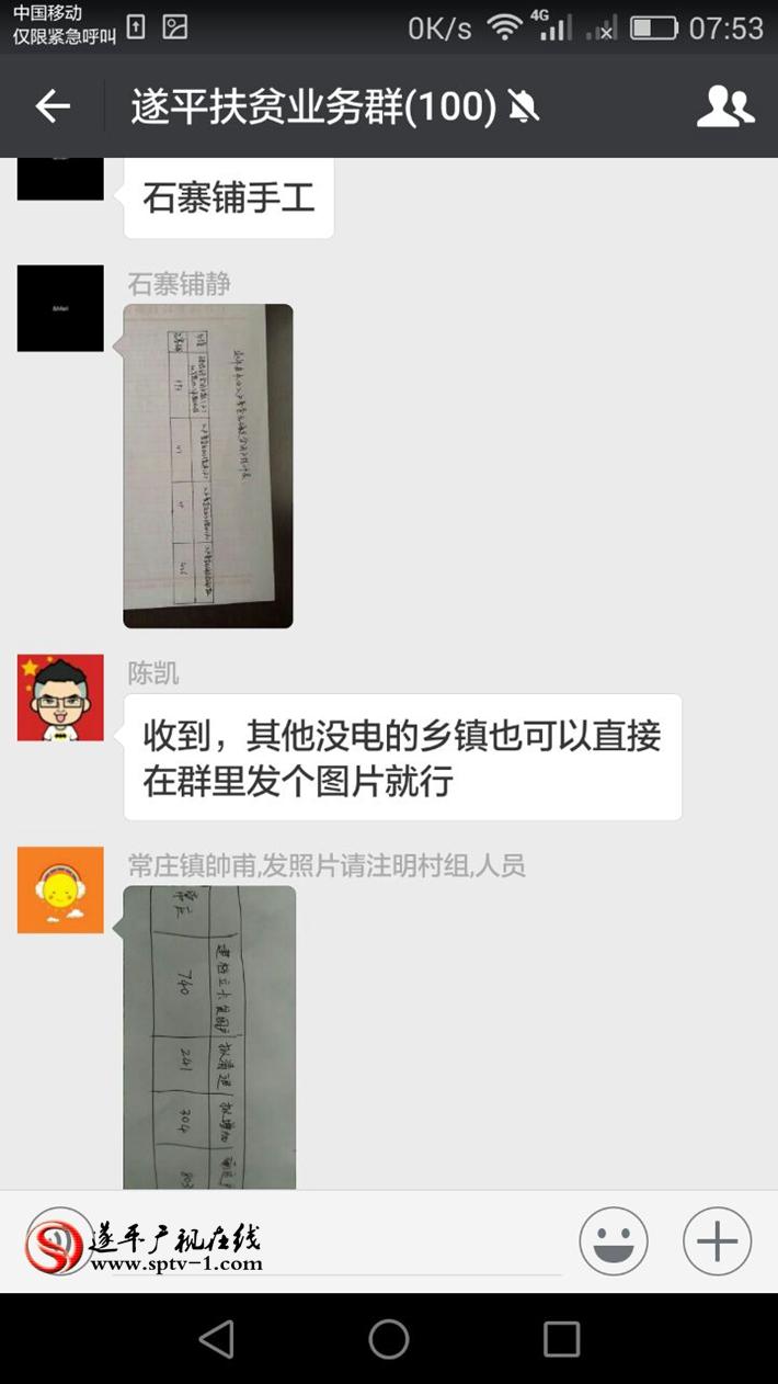 图为:多个乡镇停电时,手绘报表使用微信报送。