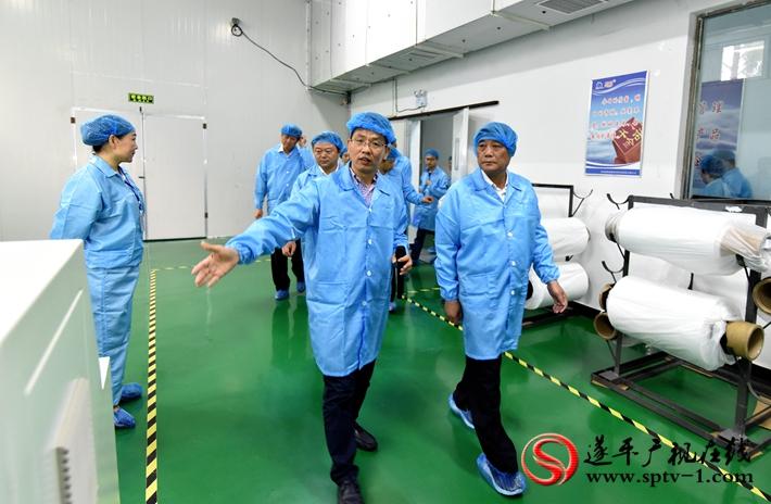图为:市委书记余学友、市长陈星带领市项目观摩团参观惠强新能源材料科技股份有限公司生产车间。