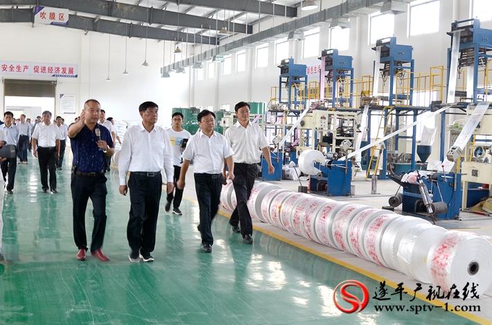 图为:市委书记余学友、市长陈星带领市项目观摩团参观玉辉实业生产车间。